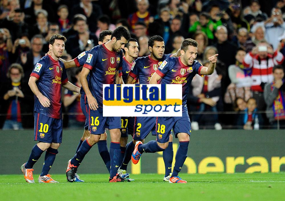 Alba - busquet - alves - Pedro - Messi ( FC Barcelone )