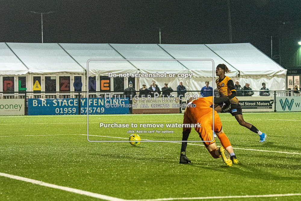 BROMLEY, UK - OCTOBER 30: Andre Coker, of Cray Wanderers FC, tries to get to a cut back during the Kent Senior Cup match between Cray Wanderers and VCD Athletic at Hayes Lane on October 30, 2019 in Bromley, UK. <br /> (Photo: Jon Hilliger)