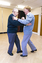Dance teacher dancing with one of his visually impaired students at NRSB activity day at their centre on Ortzen Street,  This is part of the IMPACT project; an interactive road show delivering a series of events designed to give the visionimpaired community of Nottinghamshire the opportunity to IMPACT on the future of Notts Royal Society for the Blind,