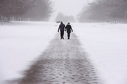 © Licensed to London News Pictures 07/02/2021.        Sevenoaks, UK. A couple walking and holding hands. Freezing cold snowy weather at Knole Park in Sevenoaks, Kent. Photo credit:Grant Falvey/LNP
