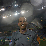 Australian goalkeeper Mark Schwarzer celebrates with fans after the match during the 2010 Fifa World Cup Asian Qualifying match between Australia and Uzbekistan at Stadium Australia in Sydney, Australia on April 01, 2009. Australia won the match 2-0.  Photo Tim Clayton
