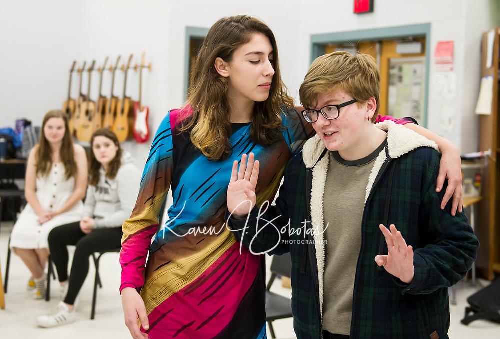 """""""Cleopatra"""" O. Burwell and """"William Shakespeare"""" during rehearsal at Belmont High School for their upcoming one-act """"While Shakespeare Slept""""  Wednesday afternoon.  (Karen Bobotas/for the Laconia Daily Sun)"""