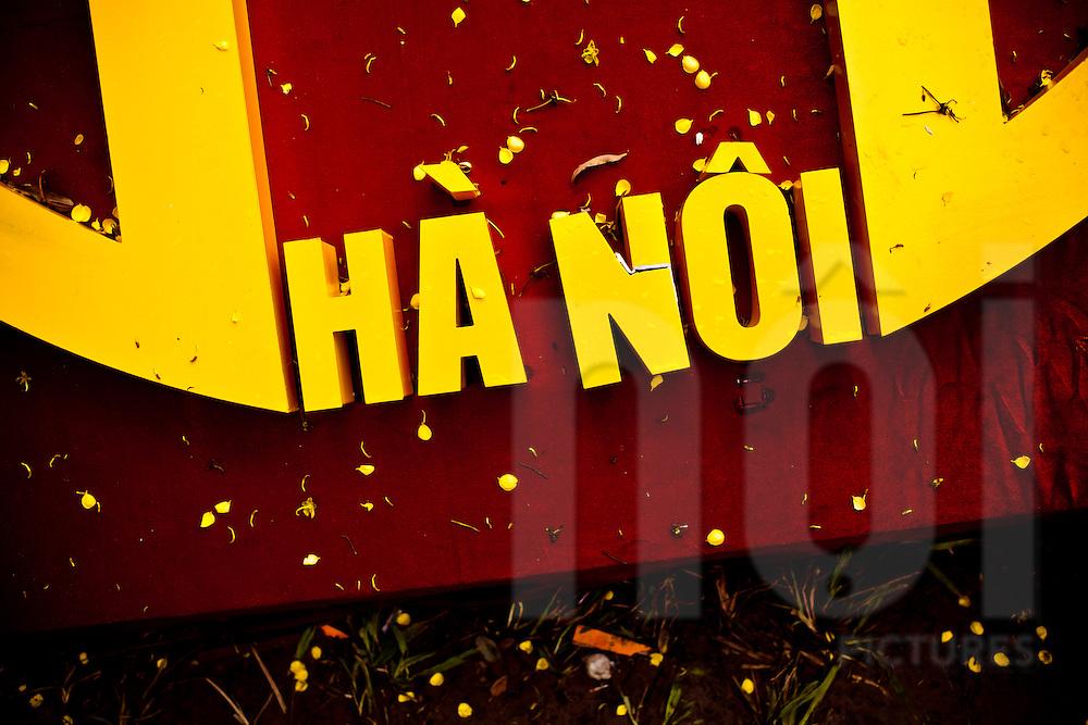 Hanoi written in yellow letters, Vietnam, Asia.