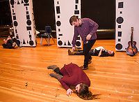 """Players Comedy Club rehearsal for """"A Fever of Creativity"""" at Winnisquam Regional High School.  Karen Bobotas for the Laconia Daily Sun"""