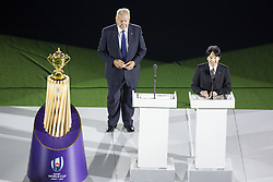 September 20, 2019, Tokyo, Japan: World Rugby chairman Bill Beaumont (L) listens to Japan's Crown Prince Akishino speaking during the opening ceremony of the Rugby World Cup 2019 to mark the kick-off of the matches at Tokyo Stadium. The tournament runs from September 20 to November 2. (Credit Image: © Rodrigo Reyes Marin/ZUMA Wire)