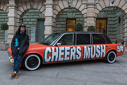 """© Licensed to London News Pictures. 26/01/2017. London, UK. """"Chavy boy"""", a decorated Daimler XJ6, by Thomas Langley is on display at """"Premiums Interim Projects"""", an exhibition of new work by 13 second year students at the Royal Academy, Piccadilly, who are at the interim point of their postgraduate study at RA Schools, the UK's longest established art school. Photo credit : Stephen Chung/LNP"""