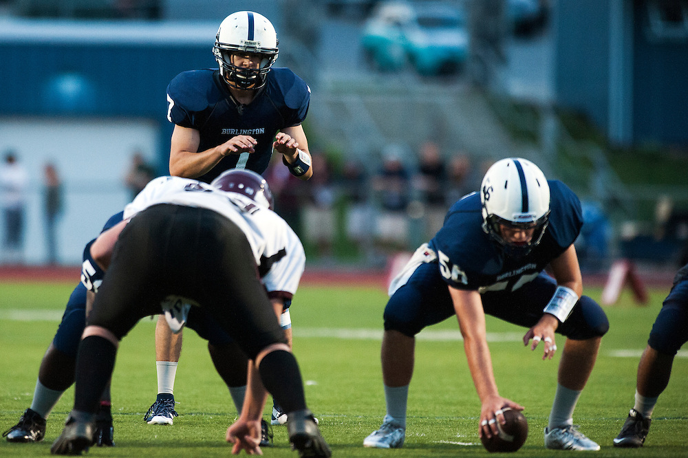 The high school football game between Mount Abraham and Burlington at Buck Hard Field on Friday night August 28, 2015 in Burlington, Vermont.