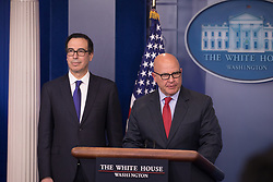 August 3, 2017 - Washington, DC, United States - (L-R): U.S. Secretary of the Treasury Steven Mnuchin, and U.S. National Security Advisor. H. R. McMaster, delivered an on-camera press briefing in the James S. Brady Press Briefing Room of the White House, on Monday, July 31, 2017. (Credit Image: © Cheriss May/NurPhoto via ZUMA Press)