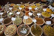 Spices displayed at a market stall in Old City, Jerusalem, Israel.