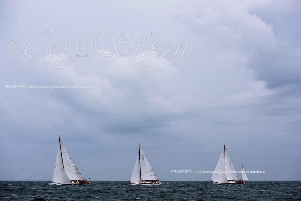 Sonny, Siren, and Santana sailing in the Sail Nantucket Regatta, day one.