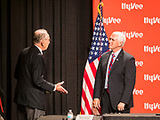 08 MAY 2020 - WEST DES MOINES, IOWA: US Senator CHUCK GRASSLEY, R-IA, (left) and Vice President MIKE PENCE talk about the security of the food supply chain at Hy-Vee corporate headquarters Friday. He visited Hy-Vee, a regional grocery store chain, to talk about the security of the food supply system. The Governor of Iowa started reopening businesses in the state even though coronavirus (SAR-CoV-2) infections are continuing to rise. President Trump signed an executive order on April 28 to compel meat packing plants to stay open as a part of critical infrastructure, but in Iowa many plants remain closed. The meat packing industry is the main source of COVID-19 infections in rural parts of Iowa. Iowa has recorded 11,457 cases of  COVID-19 and 243 deaths caused by virus.           PHOTO BY JACK KURTZ