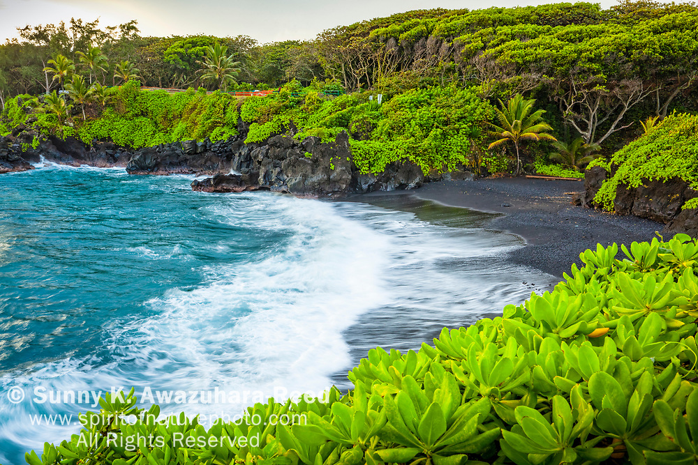 Wave crashes into Wai'anapanapa Black Sand Beach, surrounded by tropical vegetations, East Maui, Hawaii.