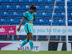 CHESTERFIELD, ENGLAND - Sunday, April 25, 2021: Liverpool's Taylor Hinds walks off dejected after being shown a red card during the FA Women's Championship game between Sheffield United FC Women and Liverpool FC Women at the Technique Stadium. Liverpool won 1-0. (Pic by David Rawcliffe/Propaganda)