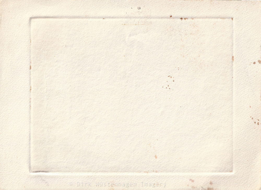 old water colour paper with frame imprint and stains