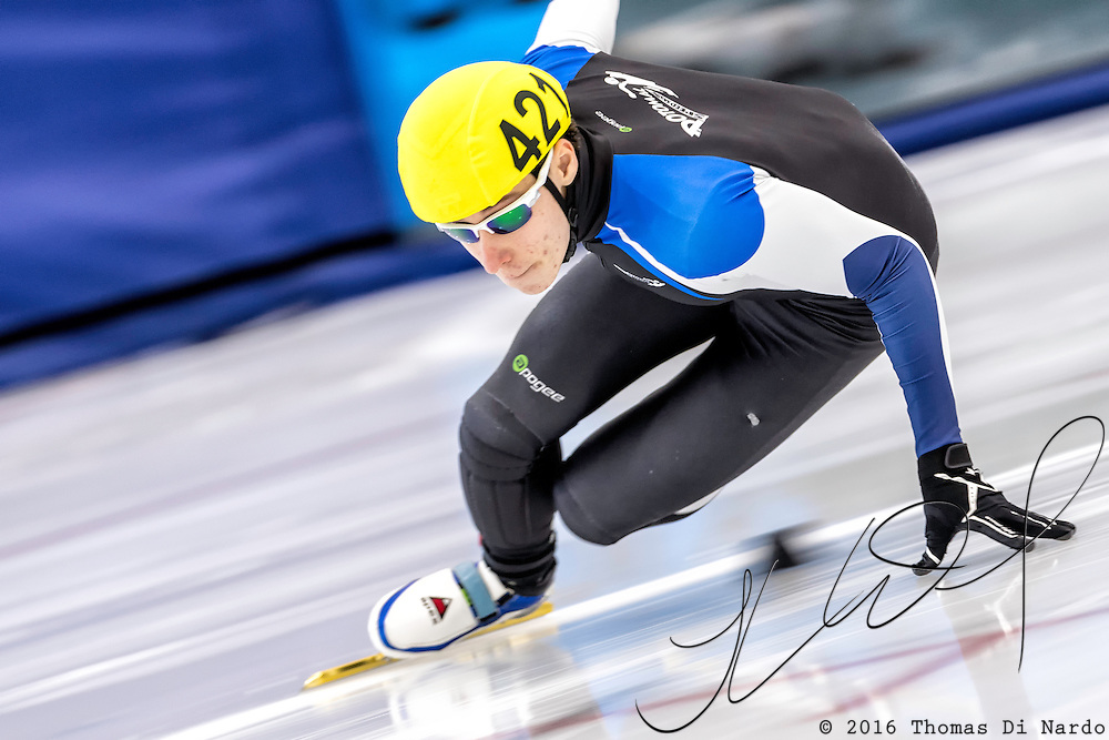 December 17, 2016 - Kearns, UT - Roen Riehl skates during US Speedskating Short Track Junior Nationals and Winter Challenge Short Track Speed Skating competition at the Utah Olympic Oval.