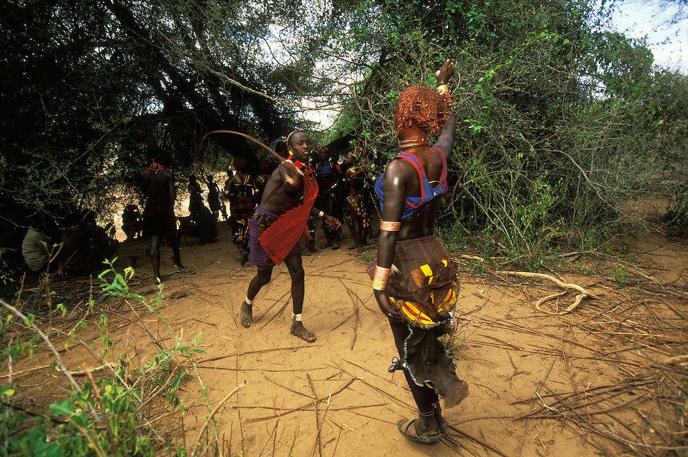 A Hamar man ritually whips a young woman at a bull jump, a ritual at which a man runs across the backs of a row of bullocks in order to become eligible for marriage, in South Omo, Ethiopia. The initiate's sisters and female cousins ask the maz, men who have performed the bull jump but have yet to marry, to whip them, an act which shows the young women's love and devotion to their brothers. To protect their breasts from stray strokes, the women nowadays wear cotton singlet's during the ritual. The 40,000-strong, cattle-herding Hamar are among the largest of the 20 or so ethnic groups which inhabit the culturally diverse Omo region in south-west Ethiopia.