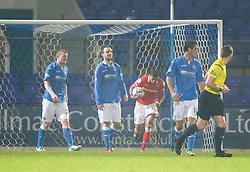 Ross County's JAke Jarvis cele scoring their goal.<br /> St Johnstone 2 v 1 Ross County, Scottish Premiership 22/11/2014 at St Johnstone's home ground, McDiarmid Park.