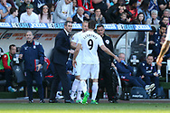 Paul Clement, the Swansea city manager looks on as he substitutes Fernando Llorente of Swansea city. Premier league match, Swansea city v Stoke City at the Liberty Stadium in Swansea, South Wales on Saturday 22nd April 2017.<br /> pic by Andrew Orchard,