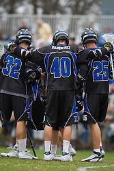 15 March 2008: Duke Blue Devils men's lacrosse midfielder Sam Payton (32), attackman Matt Danowski (40) and midfielder Zack Greer (25) in a 19-9 win over the North Carolina Tar Heels at Koskinen Stadium in Durham, NC