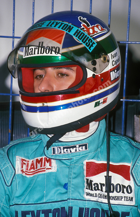 Ivan Capelli (Leyton House March-Judd) with his helmet on during testing in Estoril in early 1989. Photo: Grand Prix Photo