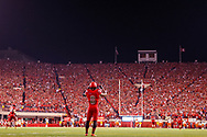 Ameer Abdullah prepares to field a kickoff during Nebraska's 45-14 win over Illinois on Sept. 27, 2014. © Aaron Babcock