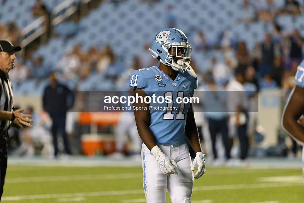 CHAPEL HILL, NC - SEPTEMBER 11: Raneiria Dillworth #11 of the North Carolina Tar Heels plays during a game against the Georgia State Panthers on September 11, 2021 at Kenan Stadium in Chapel Hill, North Carolina. North Carolina won 59-17. (Photo by Peyton Williams/Getty Images) *** Local Caption *** Raneiria Dillworth