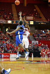 """06 January 2007: Keith """"Boo"""" Richarson shoots over Gabriel Moore. The Sycamores of Indiana State University topped the Redbirds home 54 - 50 inside Redbird Arena in Normal Illinois on the campus of Illinois State University.<br />"""