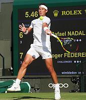 Tennis - 2019 Wimbledon Championships - Week Two, Friday (Day Eleven)<br /> <br /> Men's Singles, Semi-Final: Rafael Nadal (ESP) v Roger Federer (SUI)<br /> <br /> Rafael Nadal on Centre Court.<br /> <br /> COLORSPORT/ANDREW COWIE