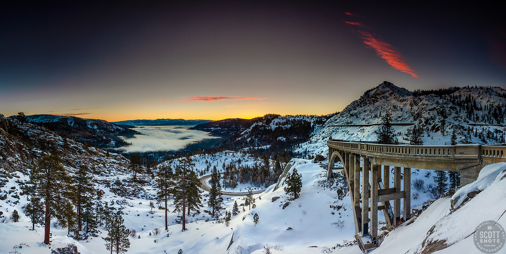 """""""Donner Lake Sunrise 21"""" - Stitched panoramic photograph of the colorful sunrise above Donner Lake, Truckee California, and Rainbow Bridge."""