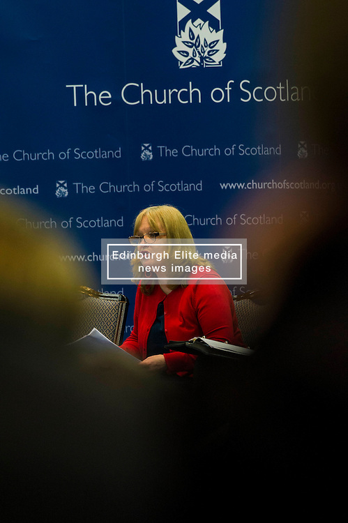 Pictured:  Trisha McGonalouge from Bridging <br /> <br /> The People Politics Hustings,  organised by the Church of Scotland, allowed voters to question SNP deputy John Swinney, Scottish Labour leader Kezia Dugdale, Scottish Liberal Democrat leader Willie Rennie, Scottish Greens co-convener Patrick Harvie and former Scottish Conservatives leader Annabel Goldie ahead of the Scottish Elections. Before the politicians had a chance to speak they had a chance to listen to five speakers with different viewpoints on how Scotland has supported them in the past and how it should support them in the future..<br /> Ger Harley   EEm 4 April 2016