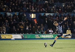 Cardiff Blues' Gareth Anscombe kicks at goal<br /> <br /> Photographer Simon King/Replay Images<br /> <br /> Guinness Pro14 Round 9 - Cardiff Blues v Connacht Rugby - Friday 24th November 2017 - Cardiff Arms Park - Cardiff<br /> <br /> World Copyright © 2017 Replay Images. All rights reserved. info@replayimages.co.uk - www.replayimages.co.uk