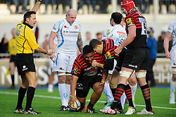 Saracens Prop (#1) Mako Vunipola celebrates scoring a try with replacement (#21) Richard Wigglesworth and Lock (#5) Mouritz Botha during the second half of the match - Photo mandatory by-line: Rogan Thomson/JMP - Tel: Mobile: 07966 386802 16/02/2013 - SPORT - RUGBY - Allianz Park - Barnet. Saracens v Exeter Chiefs - Aviva Premiership. This is the first Premiership match at Saracens new home ground, Allianz Park, and the first time Premiership Rugby has been played on an artificial turf pitch.