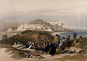 Jaffa, looking south. Coloured lithograph by Louis Haghe after David Roberts, 1843.