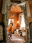 Inside a room on a luxury hotel houseboat on Lake Dal, Srinigar, Kashmir, India