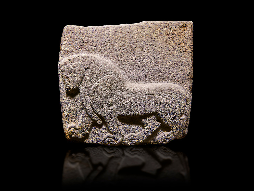 Aslantepe Hittite relief sculpted orthostat stone panel. Limestone, Aslantepe, Malatya, 1200-700 B.C. . Anatolian Civilisations Museum, Ankara, Turkey. Depiction of a horse walking. <br /> <br /> Against a black background. <br /> <br /> If you prefer to buy from our ALAMY STOCK LIBRARY page at https://www.alamy.com/portfolio/paul-williams-funkystock/hittite-art-antiquities.html . Type - Aslantepe - in LOWER SEARCH WITHIN GALLERY box. Refine search by adding background colour, place, museum etc.<br /> <br /> Visit our HITTITE PHOTO COLLECTIONS for more photos to download or buy as wall art prints https://funkystock.photoshelter.com/gallery-collection/The-Hittites-Art-Artefacts-Antiquities-Historic-Sites-Pictures-Images-of/C0000NUBSMhSc3Oo