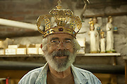 Rick Martin models an Orthodox wedding crown.