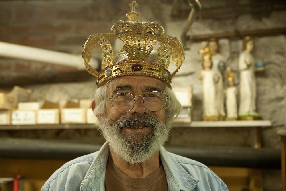 Rick Martin models an Orthodox wedding crown.