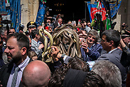 The statue of Saint Domenico is 'dressed' with the snakes. Cocullo, Italy. May 1st 2017. Federico Scoppa