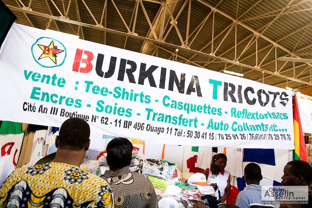 A stand selling clothes at the 22nd Salon International de l'Artisanat de Ouagadougou (SIAO) in Ouagadougou, Burkina Faso on Saturday November 1, 2008.