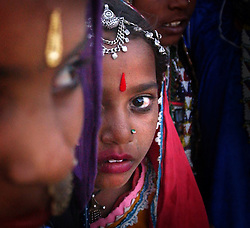 Camel fair-Gypsies-Gypsie girls wearing traditional Rajasthani dress watch camel traders from India look at the vast offerings as sun falls at the largest camel fair in the world in Pushkar, India in the state of Rajasthan November 26, 2001.