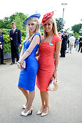 Left to right, sisters INDIA JAMES and FAWN JAMES grandaughters of the late Paul Raymond at at the first day of the 2009 Royal Ascot racing festival on 16th June 2009.
