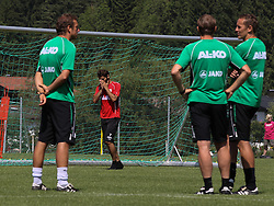 16.07.2013, Trainingsplatz, Walchsee, AUT, 1. FBL, Augsburg Trainingslager, im Bild Das Trainerteam ( v.li. Markus WEINZIERL, Wolfgang BELLER und Tobias ZELLNER) beobachten Halil ALTINTOP (FC Augsburg #7) // during a Training Session of German Bundesliga Club Augsburg at the Training Ground, Walchsee, Austria on 2013/07/17. EXPA Pictures © 2013, PhotoCredit: EXPA/ Eibner/ Klaus Rainer Krieger<br /> <br /> ***** ATTENTION - OUT OF GER *****