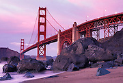Golden Gate Bridge as seen from the southwest at twilight