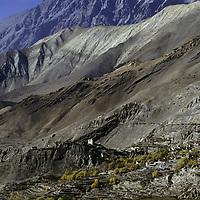 NEPAL, HIMALAYA.  Ancient fortress village in rainshadowed mountains near Muktinath, north of Annapurna. (Around Annapurna trek).