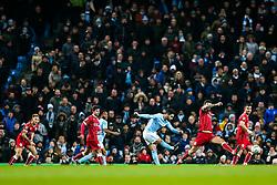 Marlon Pack of Bristol City blocks as Ilkay Gundogan of Manchester City shoots - Rogan/JMP - 09/01/2018 - Etihad Stadium - Manchester, England - Manchester City v Bristol City - Carabao Cup Semi Final First Leg.