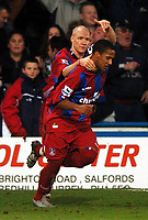 Photo: Javier Garcia/Back Page Images Mobile 07887 794393<br />03/01/2005 Crystal Palace v Aston Villa, FA Barclays Premiership, Selhurst Park<br />Andy Johnson acknowledges the contribution of Wayne Routeledge for his second goal