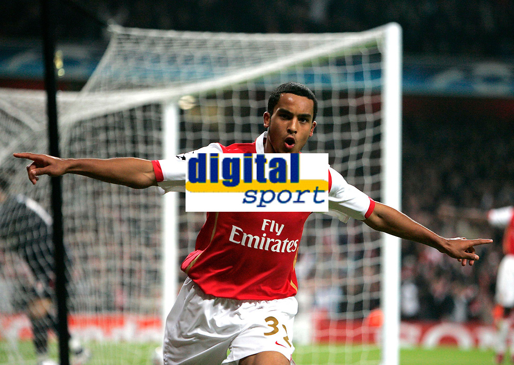 Photo: Tom Dulat.<br /> Arsenal v Slavia Prague. Group H, UEFA Champions League. 23/10/2007.<br /> Theo Walcott celebrates his second goal for Arsenal and fifth of the game. Arsenal leads 5-0