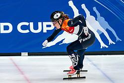 Lara van Ruijven in action on the 500 meter during ISU World Cup Finals Shorttrack 2020 on February 14, 2020 in Optisport Sportboulevard Dordrecht.