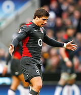 Ben Youngs of England gestures with his arms wide during the Investec series international between England and Australia at Twickenham, London, on Saturday 13th November 2010. (Photo by Andrew Tobin/SLIK images)