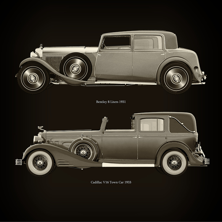 For the lover of old classic cars, this combination of a Bentley 8 Liters 1931 and Cadillac V16 Town Car 1933 is truly a beautiful work to have in your home.<br /> The classic Bentley 8 Liters 1931 and the beautiful Cadillac V16 Town Car 1933 are among the most beautiful cars ever built.<br /> You can have this work printed in various materials and without loss of quality in all formats.<br /> For the oldtimer enthusiast, the series by the artist Jan Keteleer is a dream come true. The artist has made a fine selection of the very finest cars which he has meticulously painted down to the smallest detail. –<br /> -<br /> <br /> BUY THIS PRINT AT<br /> <br /> FINE ART AMERICA<br /> ENGLISH<br /> https://janke.pixels.com/featured/bentley-8-liters-1931-and-cadillac-v16-town-car-1933-jan-keteleer.html<br /> <br /> WADM / OH MY PRINTS<br /> DUTCH / FRENCH / GERMAN<br /> https://www.werkaandemuur.nl/nl/shopwerk/Bentley-8-Liters-1931-en-Cadillac-V16-Town-Car-1933/753871/132?mediumId=1&size=60x60<br /> <br /> –